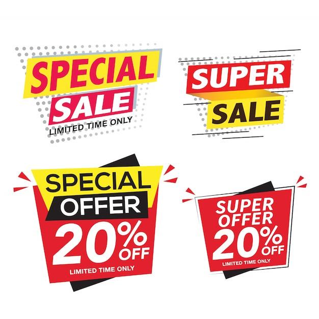 Verkoop en speciale aanbieding banner set Premium Vector