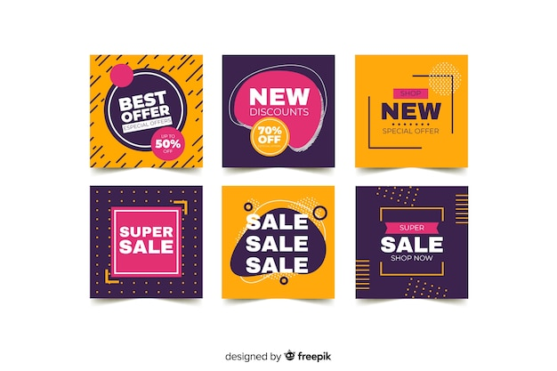Verkoop instagram post set Gratis Vector