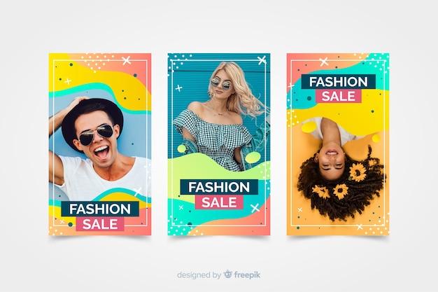 Verkoop instagramverhalen van de mode met foto Gratis Vector