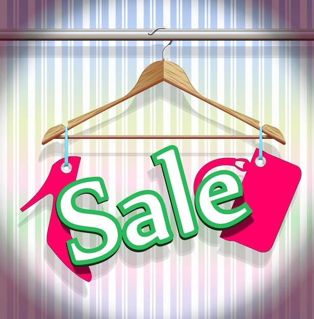 Verkoop kledinghangers in een prachtige vector Gratis Vector