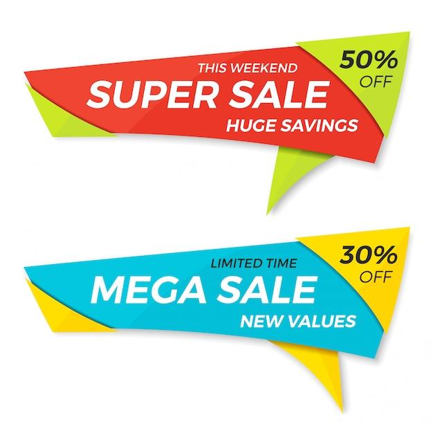 Verkoop label prijskaartje banner badge sjabloon sticker Premium Vector