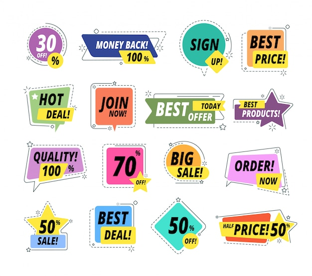 Verkoop promobadges. garantie labels. promo sticker exclusieve premium beste prijskaartje. verkoper biedt grote verkoop vector set Premium Vector