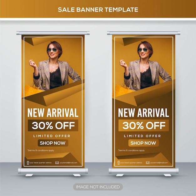 Verkoop roll up banner met premium concept Premium Vector