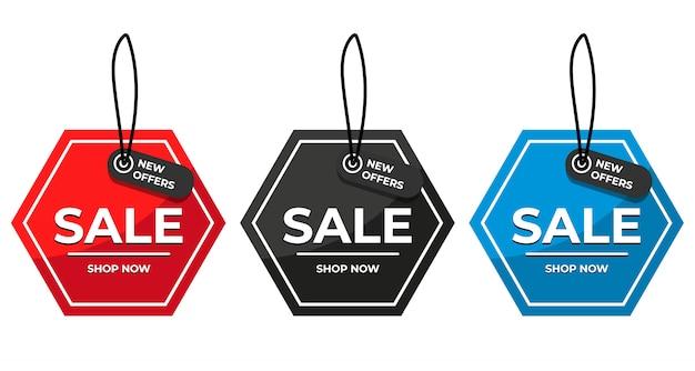Verkoop speciale aanbieding en prijskaartjes ingesteld Premium Vector