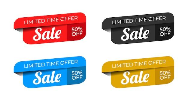 Verkoop speciale aanbieding en prijskaartjes ontwerp premium vector Premium Vector