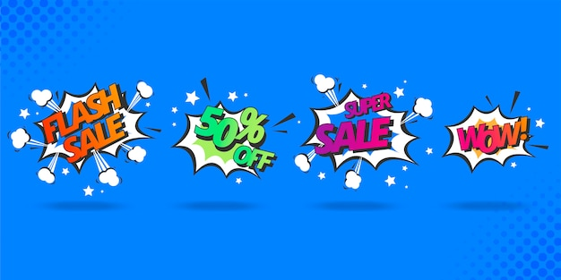 Verkoop speech bubble collection in komische stijl Gratis Vector
