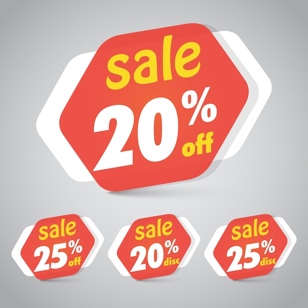 Verkoop sticker tag voor marketing retail element design met 20% 25% korting. Premium Vector