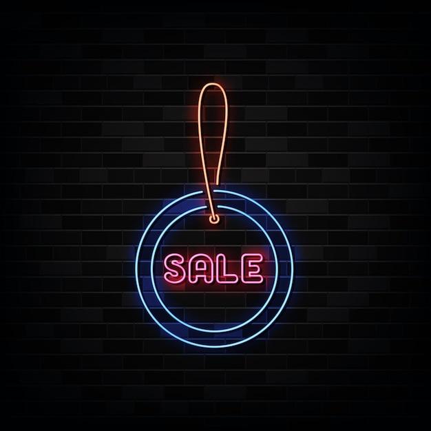 Verkoop tag neonreclames. ontwerpsjabloon neon stijl Premium Vector