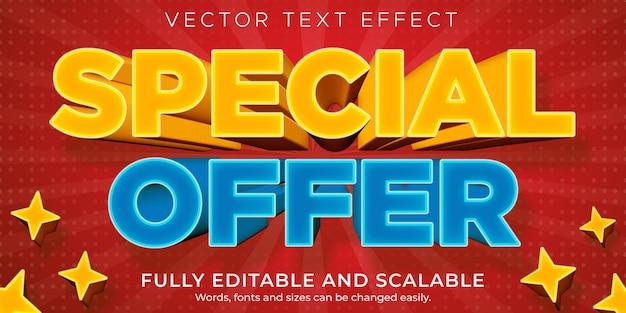 Verkoop teksteffect, bewerkbare korting en aanbieding tekststijl Premium Vector