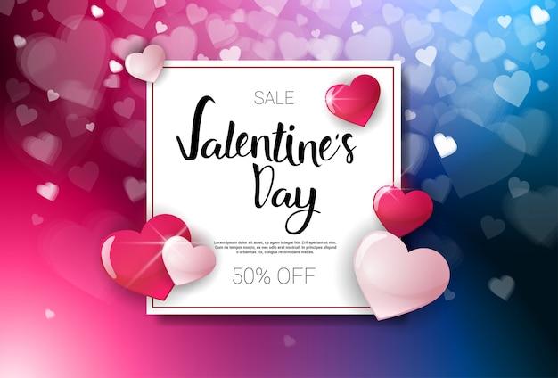 Verkoop valentijnsdag kortingen vakantie winkelen sjabloon voor spandoek met belettering en bokeh harten Premium Vector