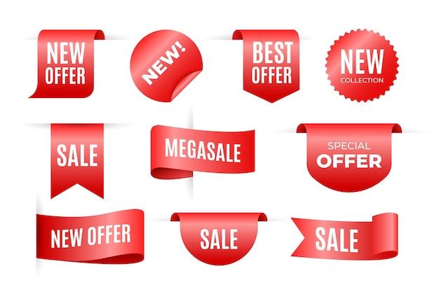 Verkoop van etiketten in verschillende vormen ingesteld Gratis Vector