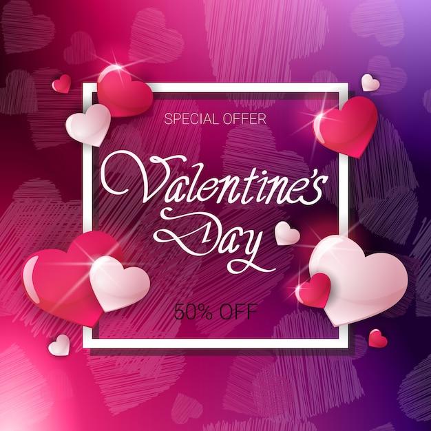 Verkoop voor valentine day holiday flyer kortingen banner concept Premium Vector
