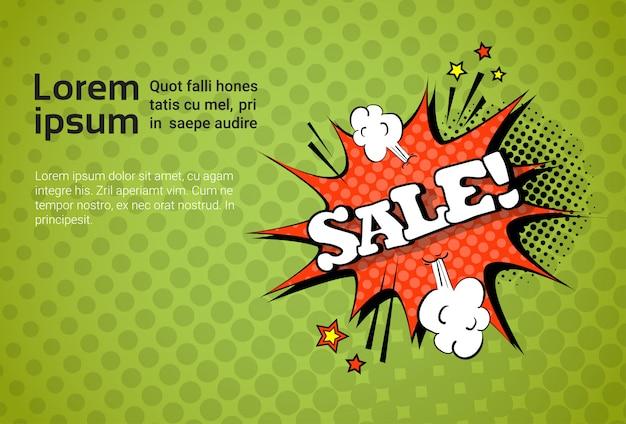 Verkoop web banner pop art comic discount sjabloon Premium Vector