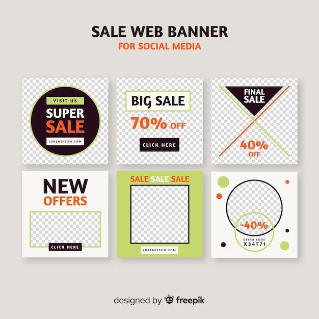 Verkoop webbanner voor sociale media Gratis Vector