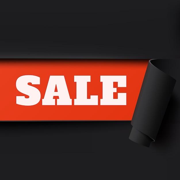 Verkoop, zwart en rood gescheurd papier achtergrond. brochure, poster of flyer-sjabloon. Premium Vector