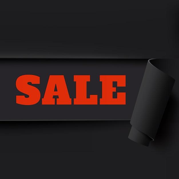 Verkoop, zwarte achtergrond gescheurd papier. sjabloon voor brochure, poster of flyer. Premium Vector