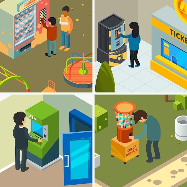 Verkoopautomaat. mensen die etend de chipsijs eten van snel voedselsnacks die de automatische isometrische beelden van het winkelconcept inkopen Premium Vector