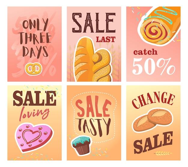 Verkoopbanner ingesteld voor bakkerijwinkel. kleurrijke brochures met koekjes, muffins en brood. Gratis Vector