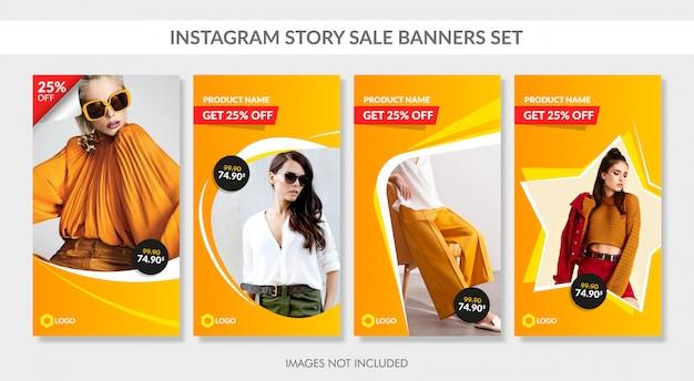 Verkoopbanners instellen voor instagram-verhaal en web Premium Vector