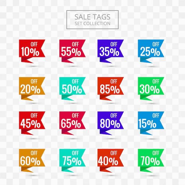 Verkoopmarkeringen geplaatst inzamelings kleurrijk ontwerp Gratis Vector