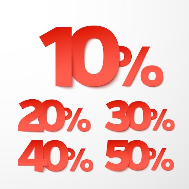 Verkooppercentages in papierstijl Premium Vector