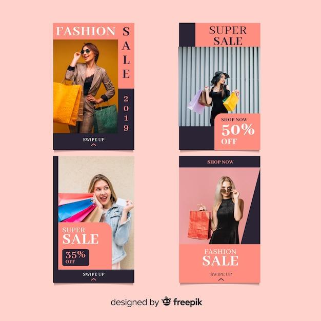 Verkoopsinstagramverhalen van de mode Gratis Vector
