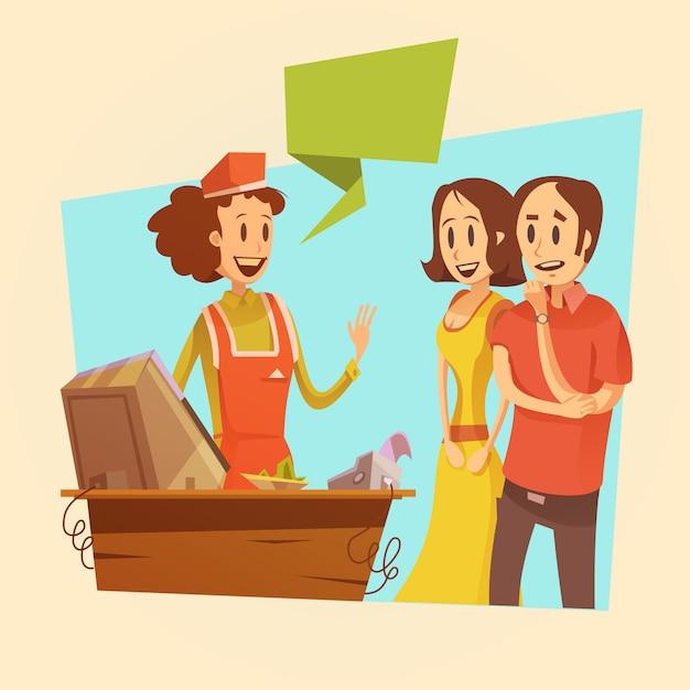 Verkoopster en klanten bij betaalbureau retro achtergrond Gratis Vector