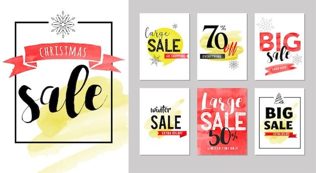 Verkooptags, labels. kerst verkoop kleurrijke aquarel Premium Vector