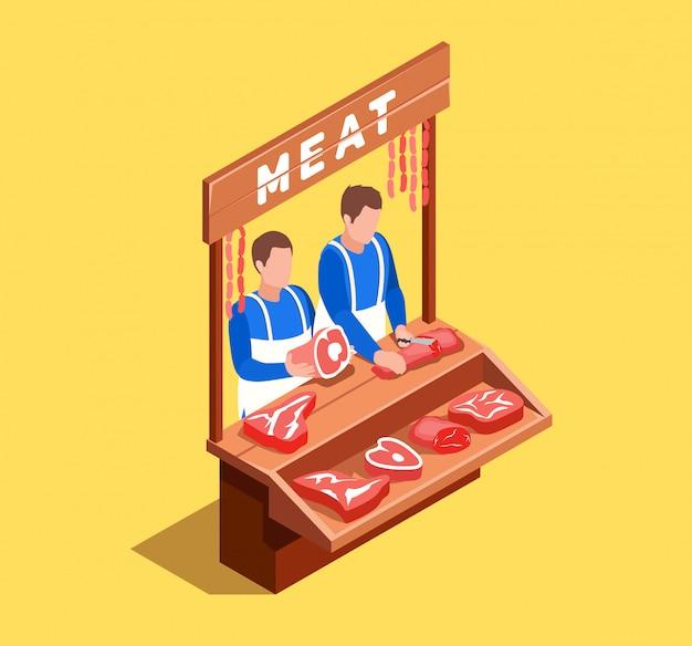 Verkopen van vlees isometrische scène Gratis Vector
