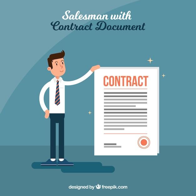 Verkoper met contract Gratis Vector