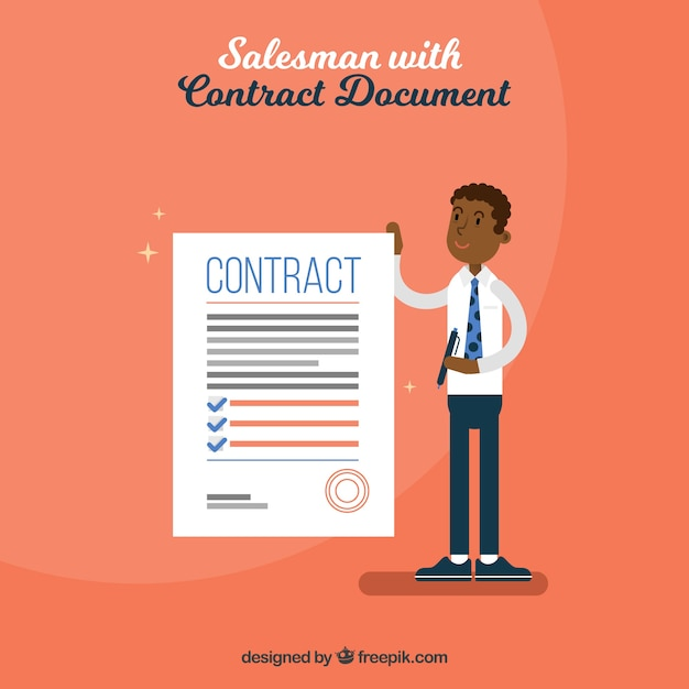 Verkoper met contract Gratis Vector