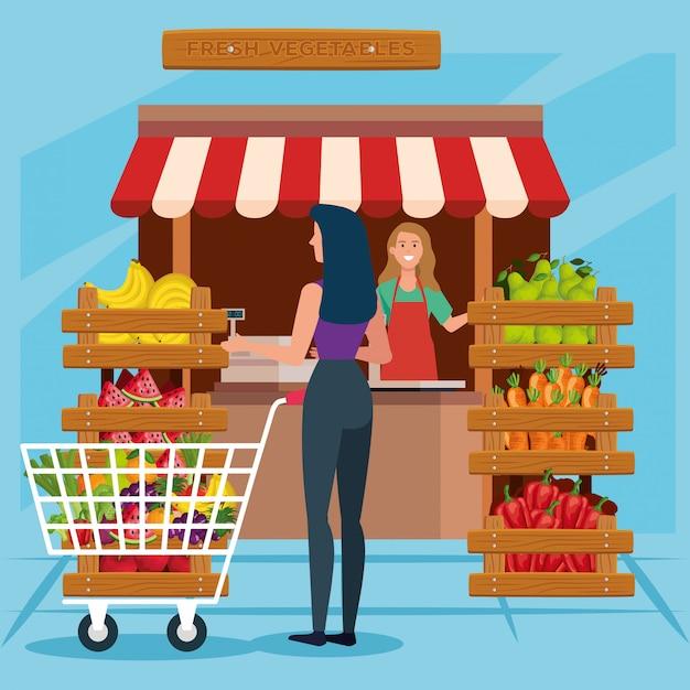 Verkoper vrouw en klant illustratie, winkel winkel markt winkelen handel retail kopen en betalen Premium Vector