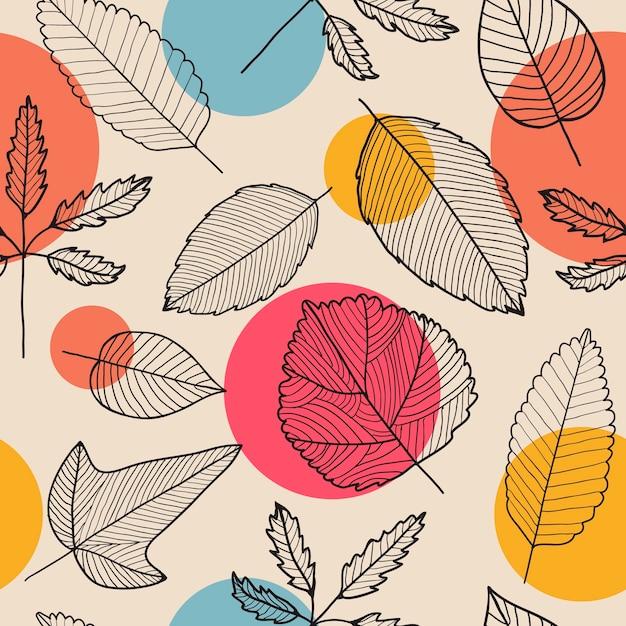 Verlaat naadloze patroon, hand getrokken herfst achtergrond. lineair, zwart en wit Premium Vector