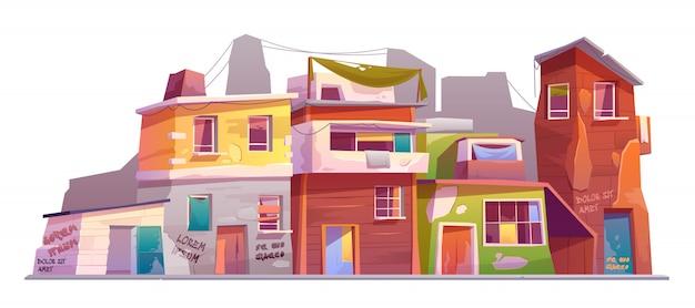 Verlaten oude huizen Gratis Vector