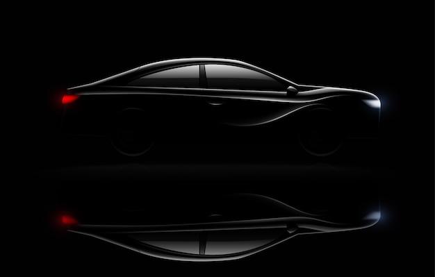 Verlichte luxe sedan auto in het donker met koplampen en achterlichten verlicht realistische beeldreflectie Gratis Vector