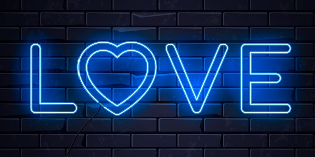 Verlichte neon liefdeshart Premium Vector