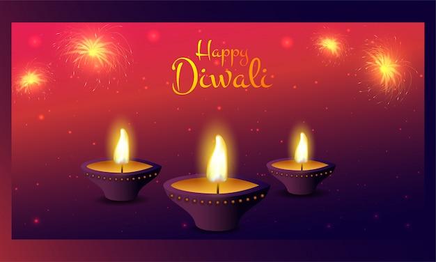 Verlichte olielamp (diya) met vuurwerk op rood en paars lichteffect voor een gelukkige diwali-viering. Premium Vector