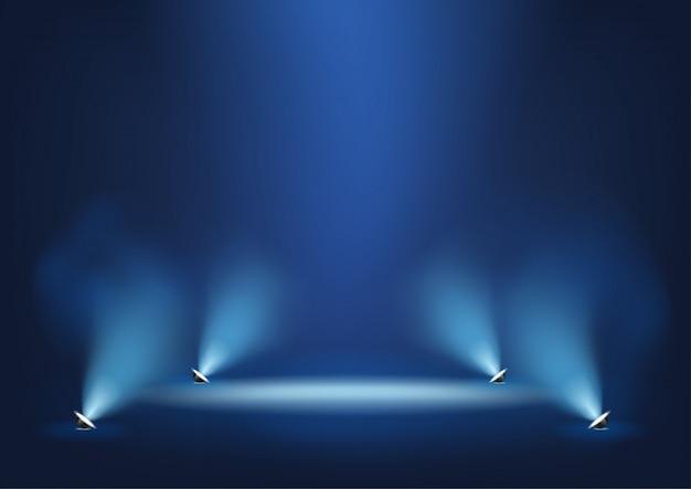 Verlichte podium met felle lichten sjabloon voor presentatie Premium Vector