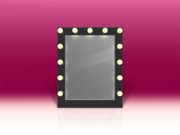 Verlichte spiegel voor make-up geïsoleerd op roze achtergrond. Gratis Vector