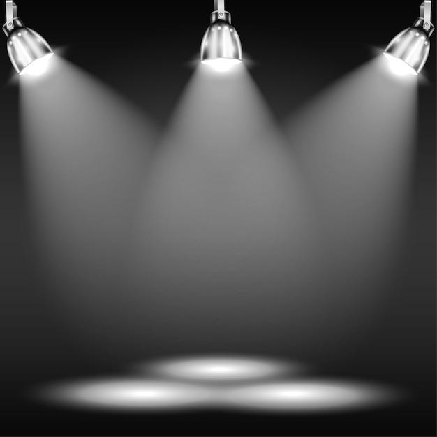 Verlichte vloer in donkere kamer Premium Vector