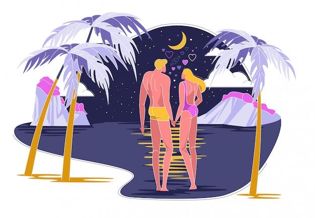 Verliefde paar gaan zwemmen in de oceaan 's nachts. Premium Vector