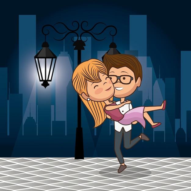 Verliefde paar op straat 's nachts Premium Vector