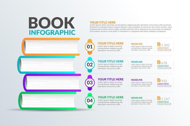 Verloop boek infographics ontwerp Gratis Vector