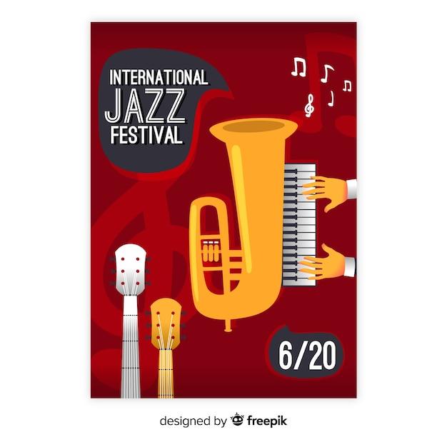 Verloop illustratie muziekfestival poster Gratis Vector