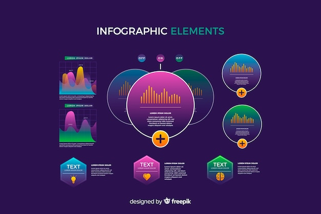 Verloop infographic element collectie Gratis Vector