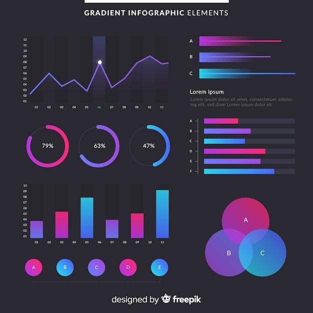 Verloop infographic elementen met donkere achtergrond Gratis Vector