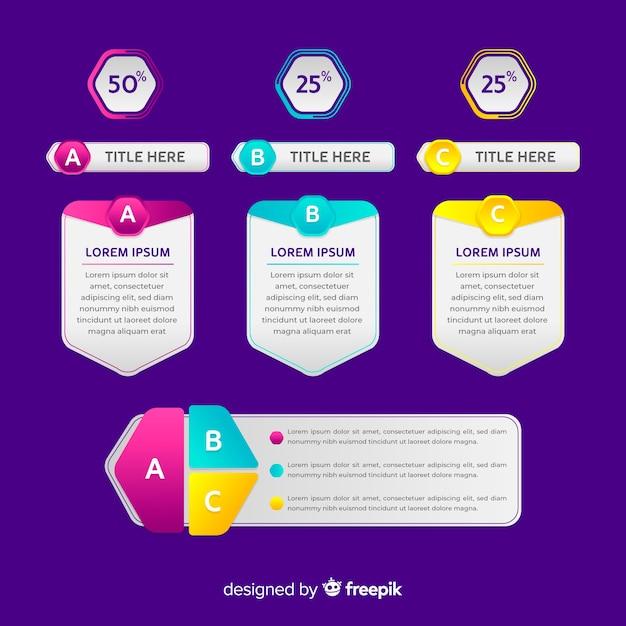 Verloop infographic elementen Gratis Vector