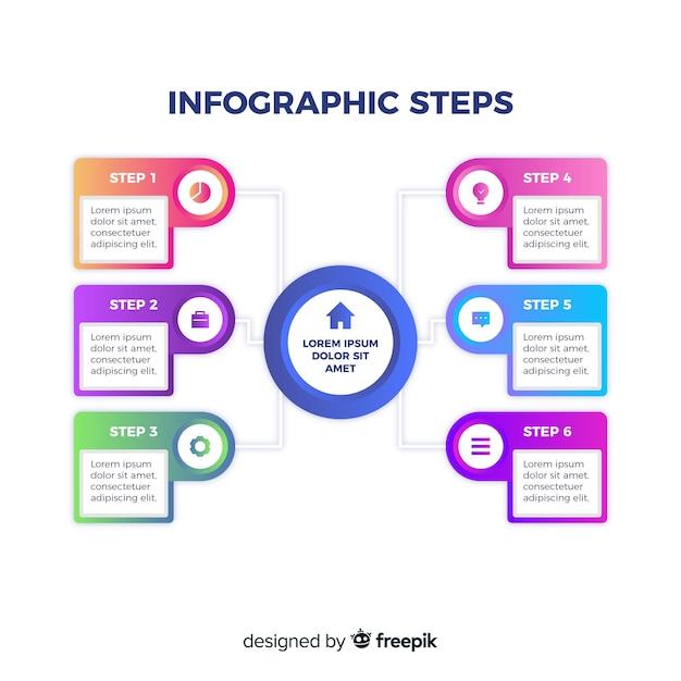 Verloop infographic stappen presentatiesjabloon Gratis Vector