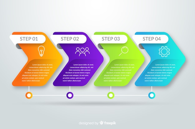 Verloop infographic stappen sjabloon Gratis Vector