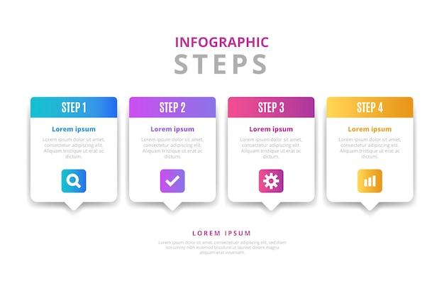 Verloop infographic stappen sjabloon Gratis Vector